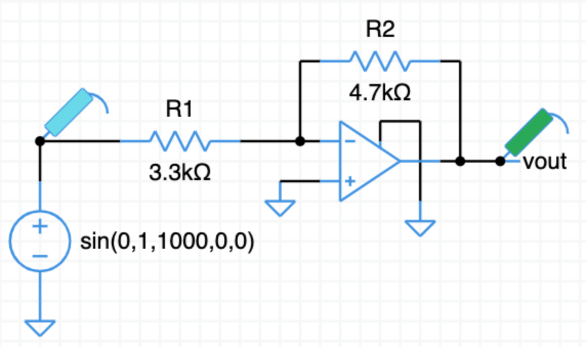 Inverting opamp example circuit
