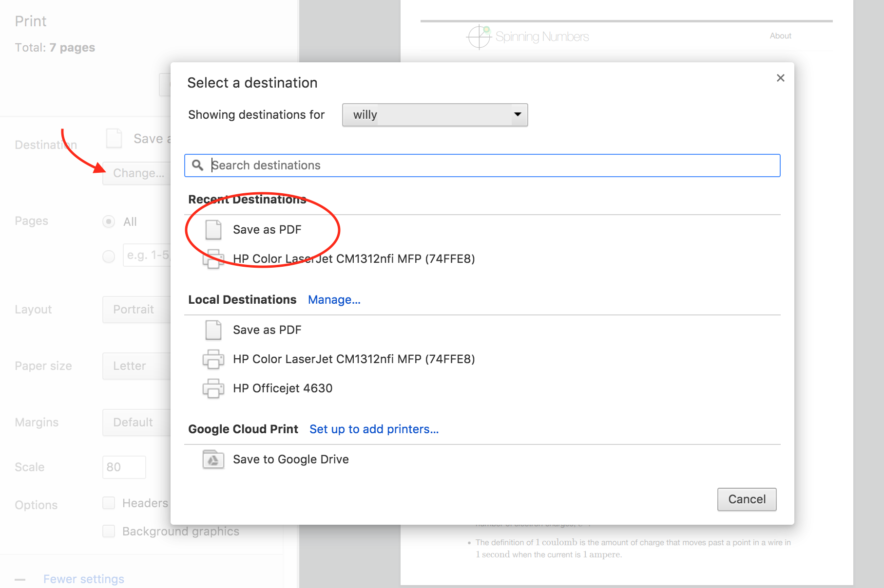If You Want A Pdf File Change The Print Destination To Continue On With Save And Pick Name For Your